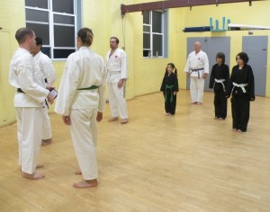 David Hennessy and his students in the dojo.